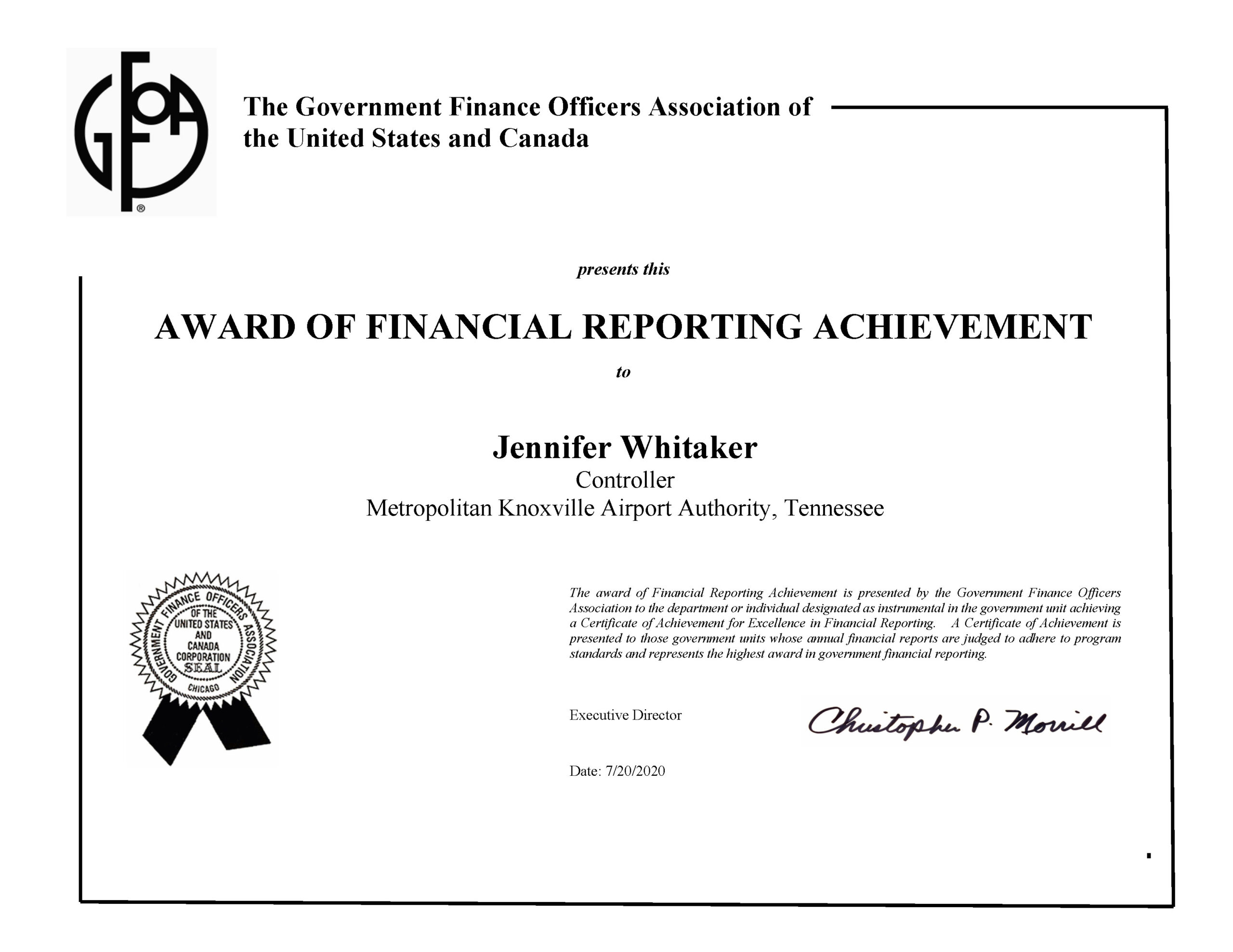 Image for Airport Authority Wins Financial Reporting Award